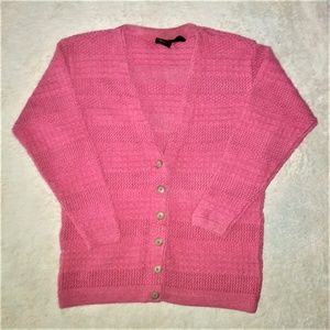 Vintage Lizsport Pink Knit Cardigan Size Medium